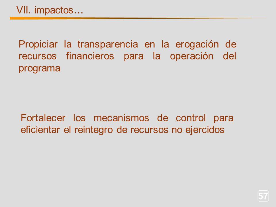 57 VII. impactos… Propiciar la transparencia en la erogación de recursos financieros para la operación del programa Fortalecer los mecanismos de contr
