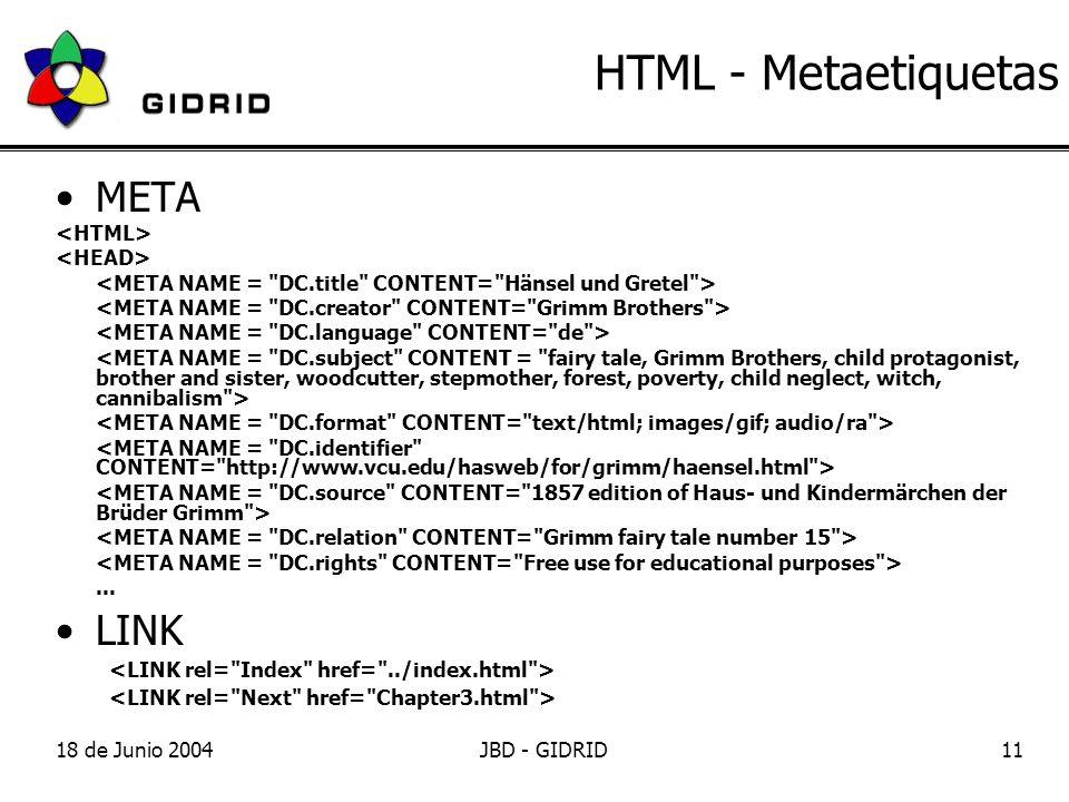 18 de Junio 2004JBD - GIDRID11 HTML - Metaetiquetas META... LINK