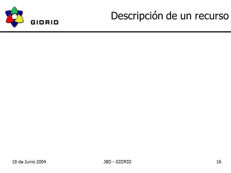 18 de Junio 2004JBD - GIDRID16 Descripción de un recurso