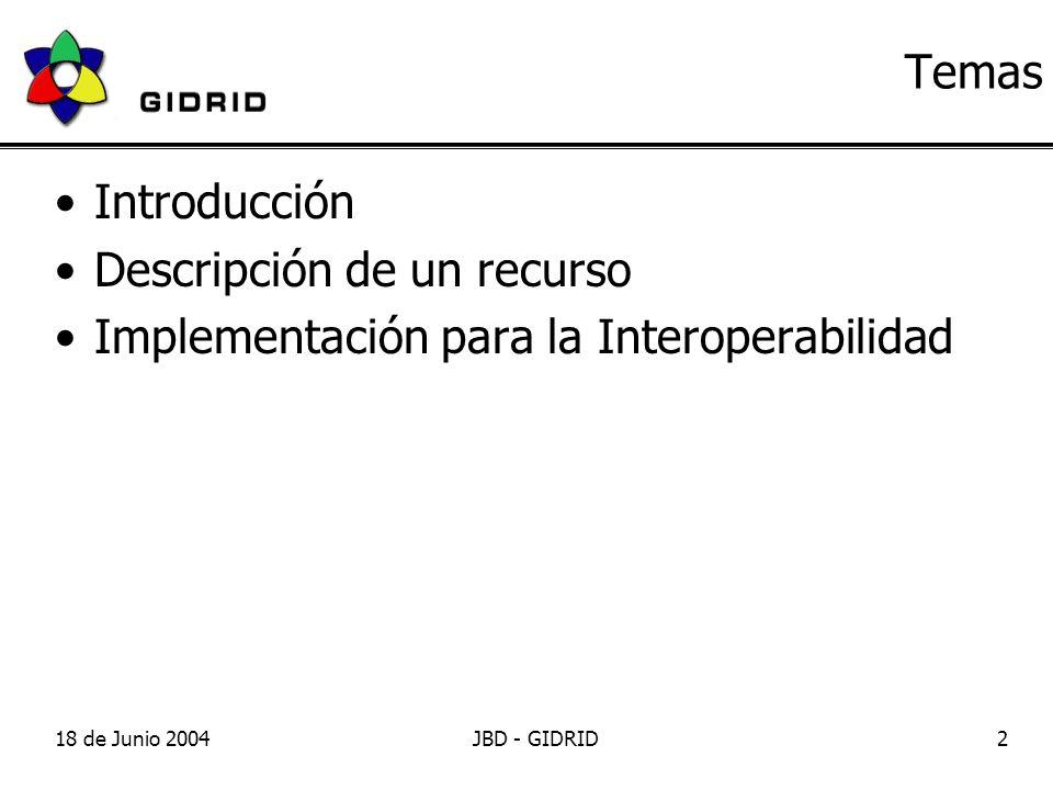 18 de Junio 2004JBD - GIDRID2 Temas Introducción Descripción de un recurso Implementación para la Interoperabilidad