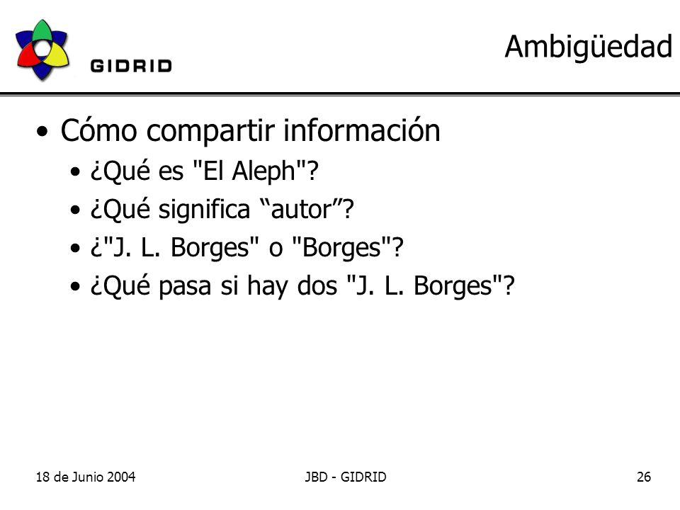 18 de Junio 2004JBD - GIDRID26 Ambigüedad Cómo compartir información ¿Qué es El Aleph .