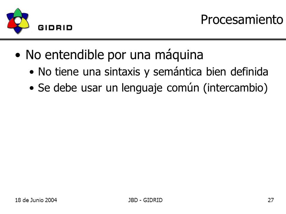 18 de Junio 2004JBD - GIDRID27 Procesamiento No entendible por una máquina No tiene una sintaxis y semántica bien definida Se debe usar un lenguaje común (intercambio)