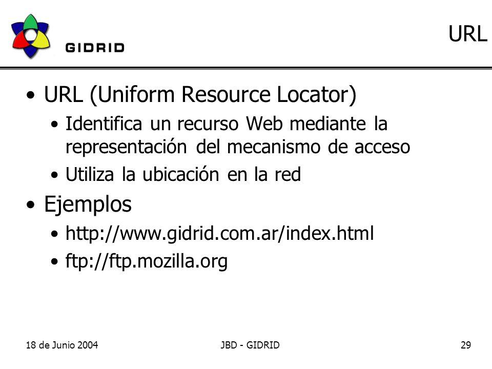 18 de Junio 2004JBD - GIDRID29 URL URL (Uniform Resource Locator) Identifica un recurso Web mediante la representación del mecanismo de acceso Utiliza la ubicación en la red Ejemplos http://www.gidrid.com.ar/index.html ftp://ftp.mozilla.org