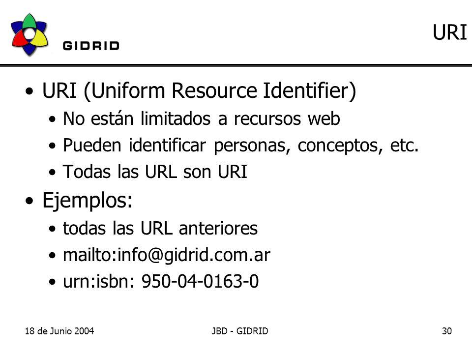 18 de Junio 2004JBD - GIDRID30 URI URI (Uniform Resource Identifier) No están limitados a recursos web Pueden identificar personas, conceptos, etc.