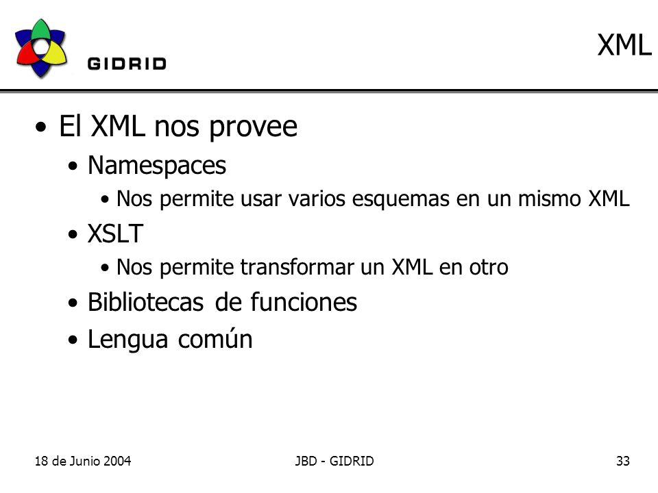 18 de Junio 2004JBD - GIDRID33 XML El XML nos provee Namespaces Nos permite usar varios esquemas en un mismo XML XSLT Nos permite transformar un XML en otro Bibliotecas de funciones Lengua común