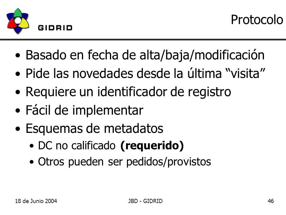18 de Junio 2004JBD - GIDRID46 Protocolo Basado en fecha de alta/baja/modificación Pide las novedades desde la última visita Requiere un identificador de registro Fácil de implementar Esquemas de metadatos DC no calificado (requerido) Otros pueden ser pedidos/provistos