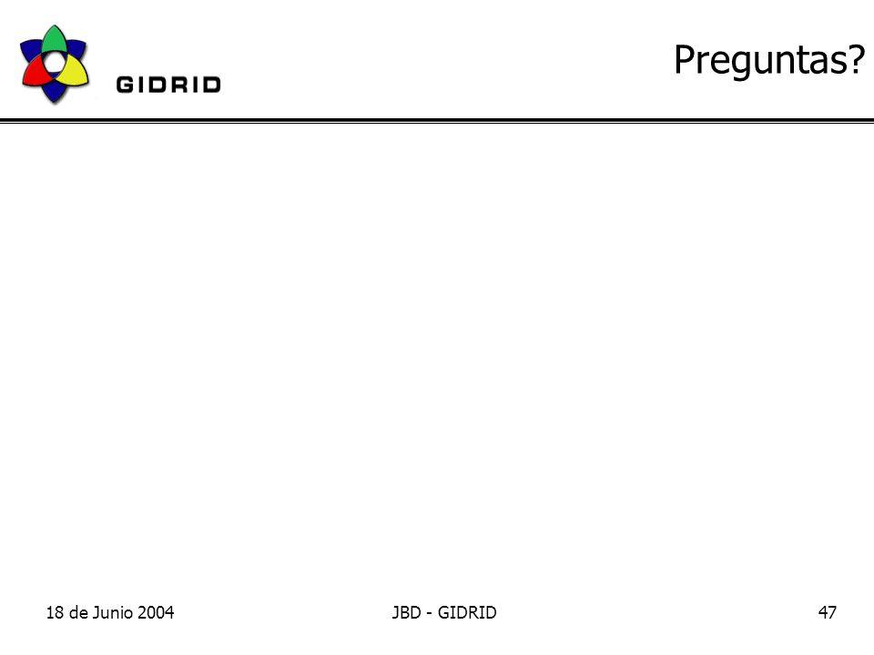 18 de Junio 2004JBD - GIDRID47 Preguntas