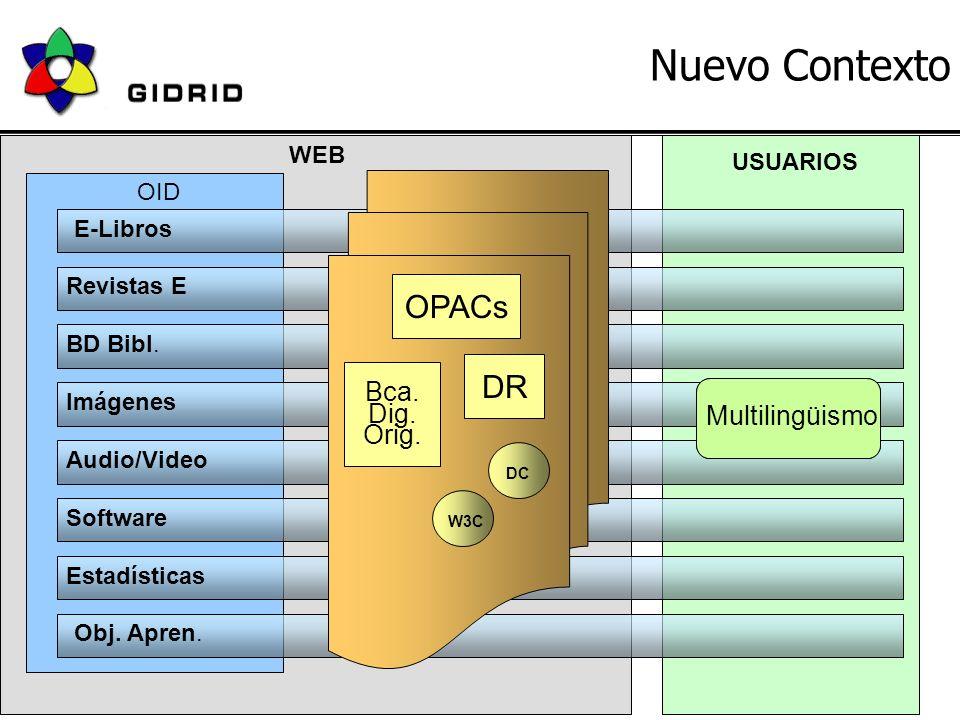 18 de Junio 2004JBD - GIDRID9 Nuevo Contexto WEB E-Libros Revistas E BD Bibl.