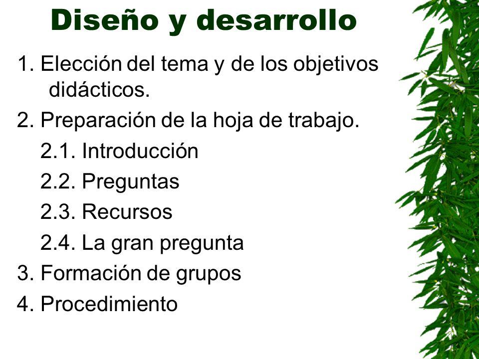 Diseño y desarrollo 1. Elección del tema y de los objetivos didácticos. 2. Preparación de la hoja de trabajo. 2.1. Introducción 2.2. Preguntas 2.3. Re