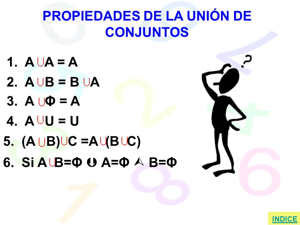 PROPIEDADES DE LA UNIÓN DE CONJUNTOS 1.A A = A 2.