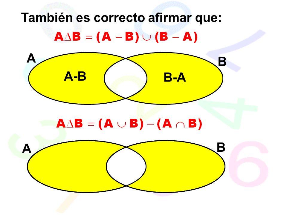 También es correcto afirmar que: A B A-B B-A A B