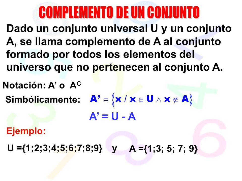 Dado un conjunto universal U y un conjunto A, se llama complemento de A al conjunto formado por todos los elementos del universo que no pertenecen al conjunto A.