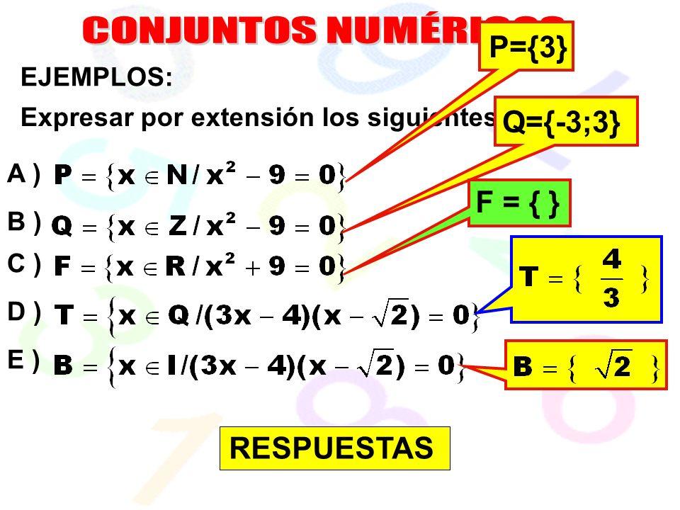 EJEMPLOS: Expresar por extensión los siguientes conjuntos: A ) B ) C ) D ) E ) P={3} Q={-3;3} F = { } RESPUESTAS