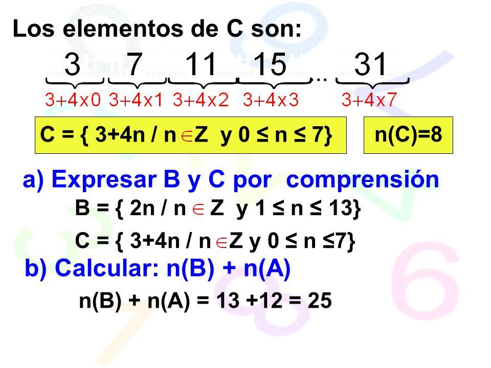 Los elementos de C son:...