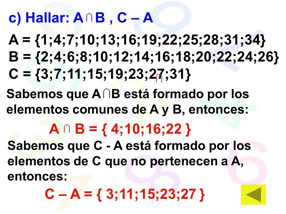 A = {1;4;7;10;13;16;19;22;25;28;31;34} B = {2;4;6;8;10;12;14;16;18;20;22;24;26} C = {3;7;11;15;19;23;27;31} c) Hallar: A B, C – A A B = { 4;10;16;22 } C – A = { 3;11;15;23;27 } Sabemos que A B está formado por los elementos comunes de A y B, entonces: Sabemos que C - A está formado por los elementos de C que no pertenecen a A, entonces: