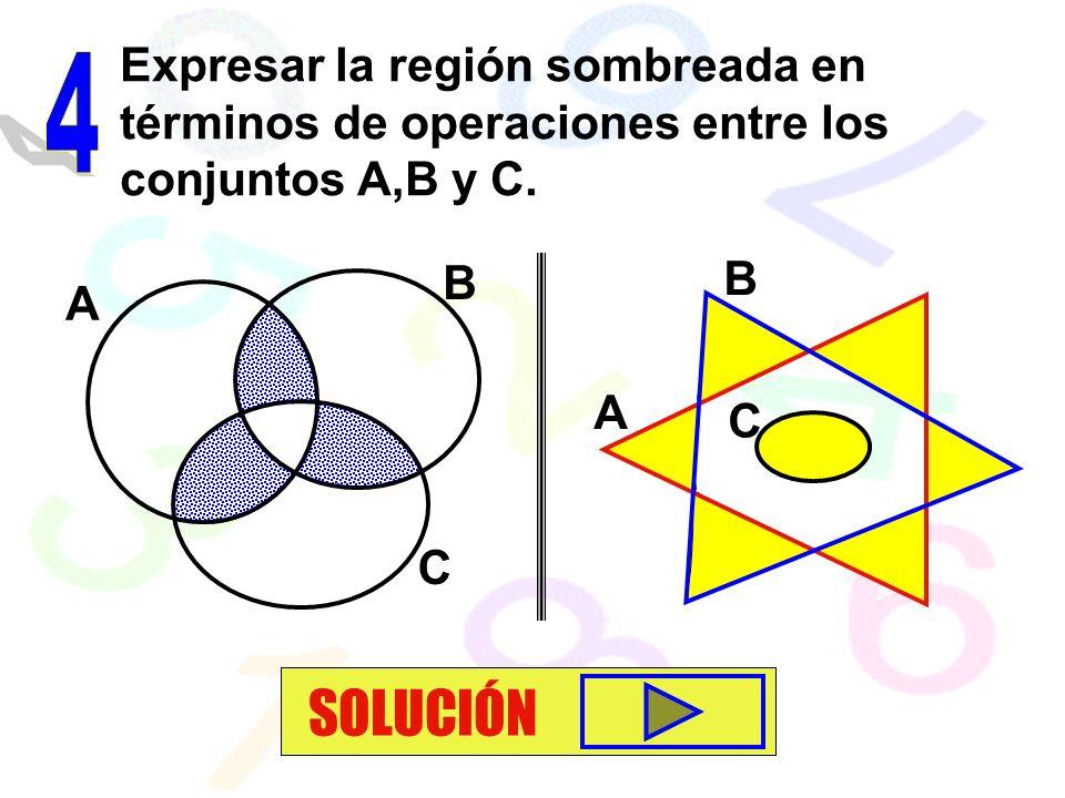 Expresar la región sombreada en términos de operaciones entre los conjuntos A,B y C.