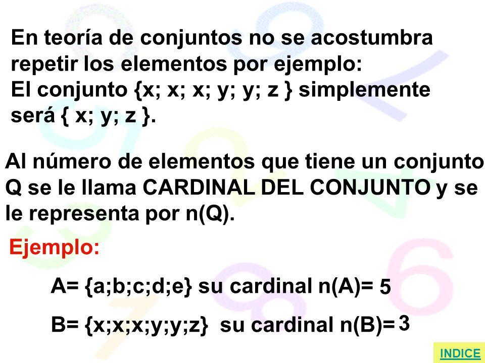Ejemplo: A= {a;b;c;d;e} su cardinal n(A)= B= {x;x;x;y;y;z} su cardinal n(B)= En teoría de conjuntos no se acostumbra repetir los elementos por ejemplo: El conjunto {x; x; x; y; y; z } simplemente será { x; y; z }.