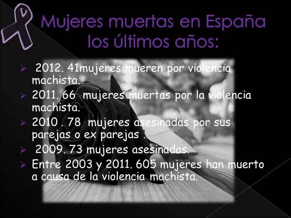 2012. 41mujeres mueren por violencia machista. 2011. 66 mujeres muertas por la violencia machista. 2010. 78 mujeres asesinadas por sus parejas o ex pa