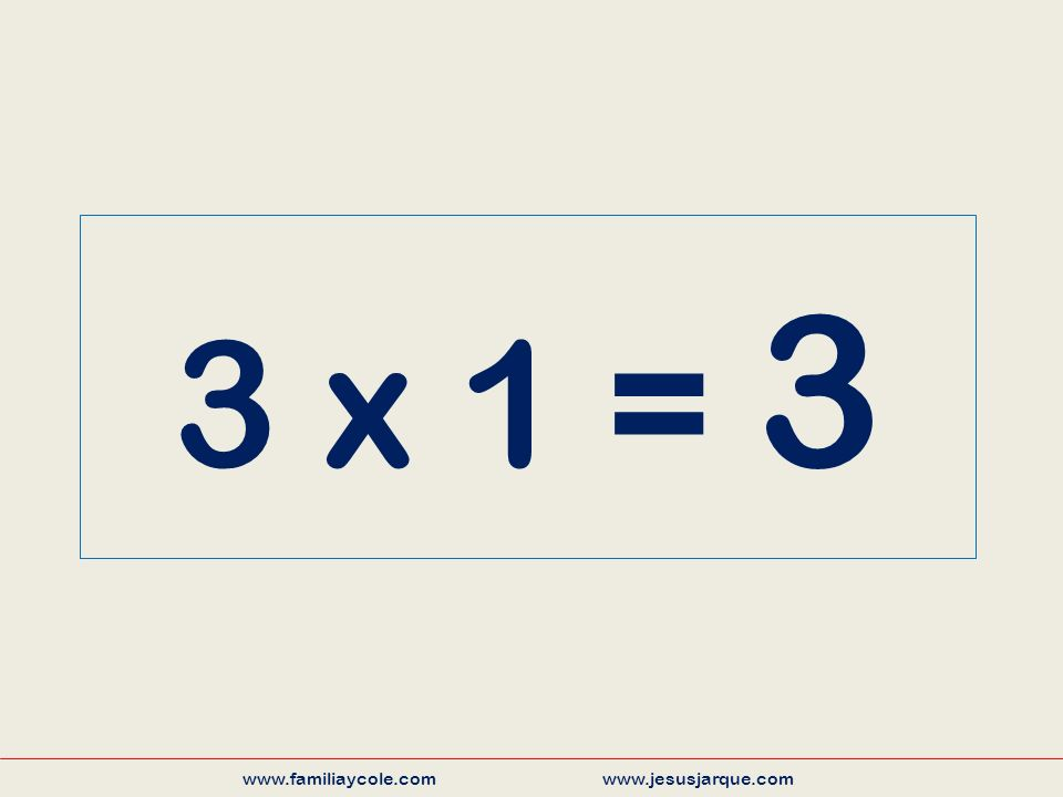 3 x 1 = 3 www.familiaycole.com www.jesusjarque.com