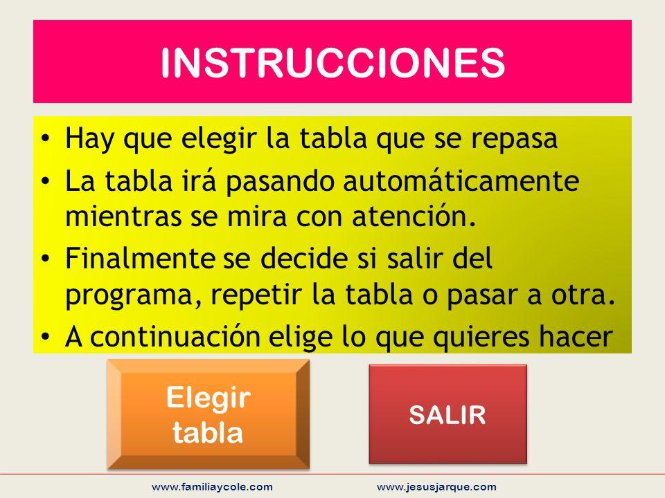 INSTRUCCIONES Hay que elegir la tabla que se repasa La tabla irá pasando automáticamente mientras se mira con atención.