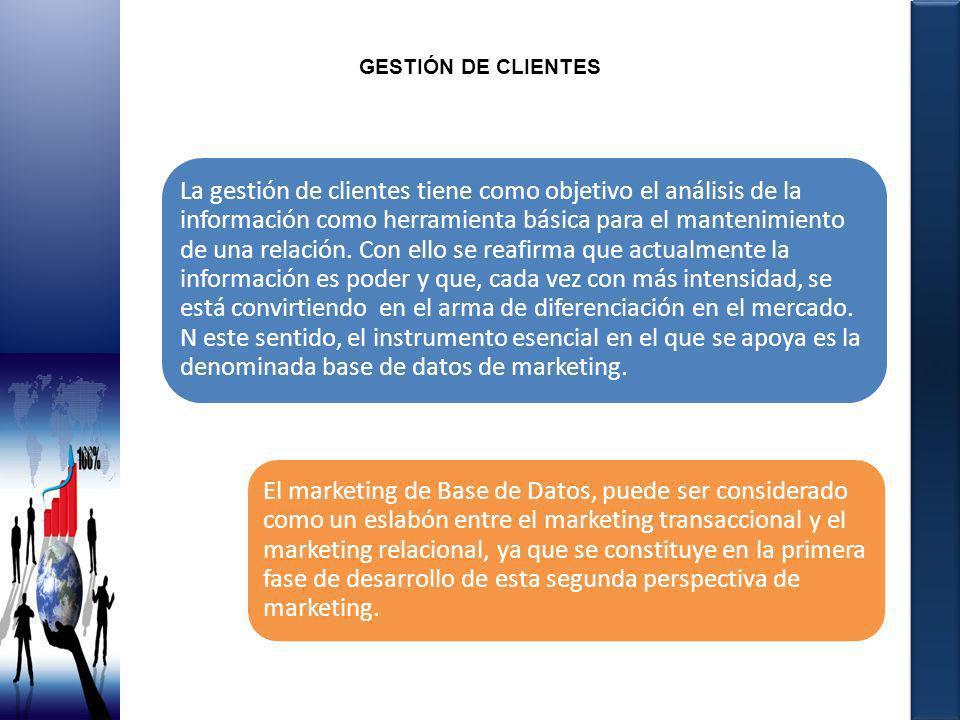 GESTIÓN DE CLIENTES La gestión de clientes tiene como objetivo el análisis de la información como herramienta básica para el mantenimiento de una rela