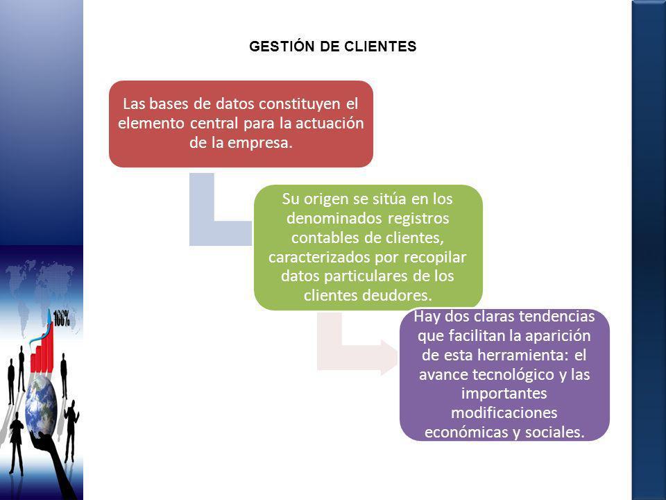 GESTIÓN DE CLIENTES Las bases de datos constituyen el elemento central para la actuación de la empresa. Su origen se sitúa en los denominados registro