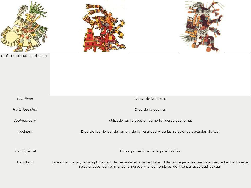 Tenían multitud de dioses: CoatlicueDiosa de la tierra. HuitzilopochtliDios de la guerra. Ipalnemoaniutilizado en la poesía, como la fuerza suprema. X