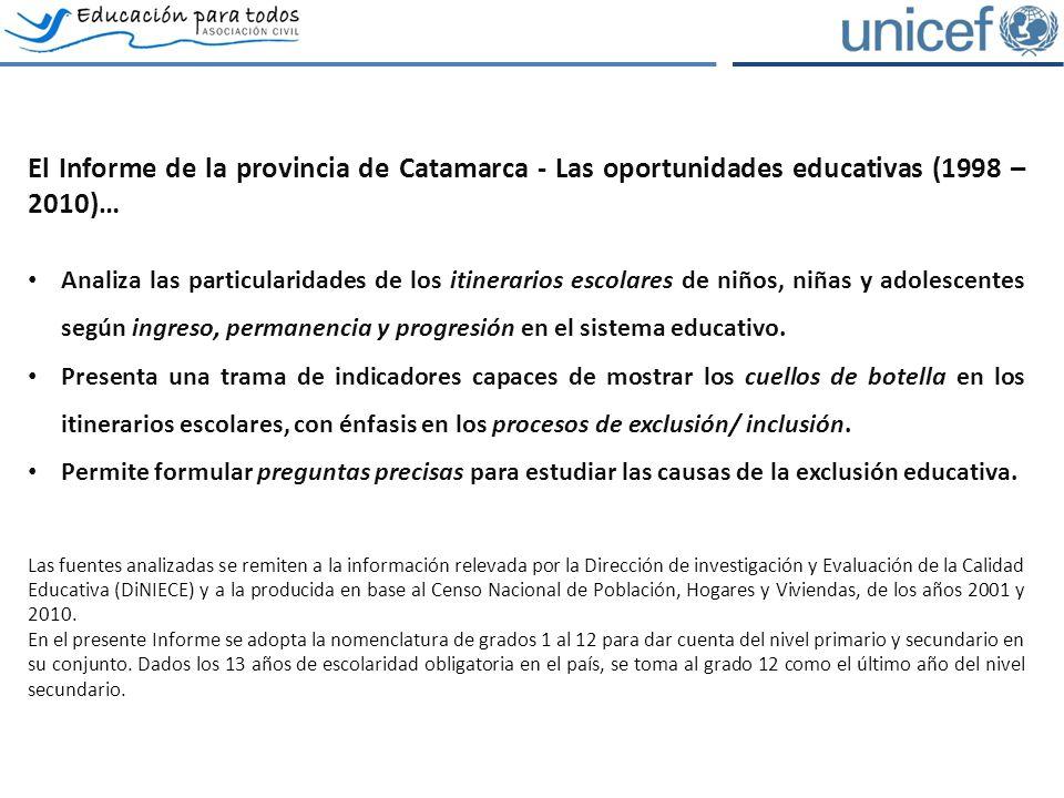 El Informe de la provincia de Catamarca - Las oportunidades educativas (1998 – 2010)… Analiza las particularidades de los itinerarios escolares de niños, niñas y adolescentes según ingreso, permanencia y progresión en el sistema educativo.