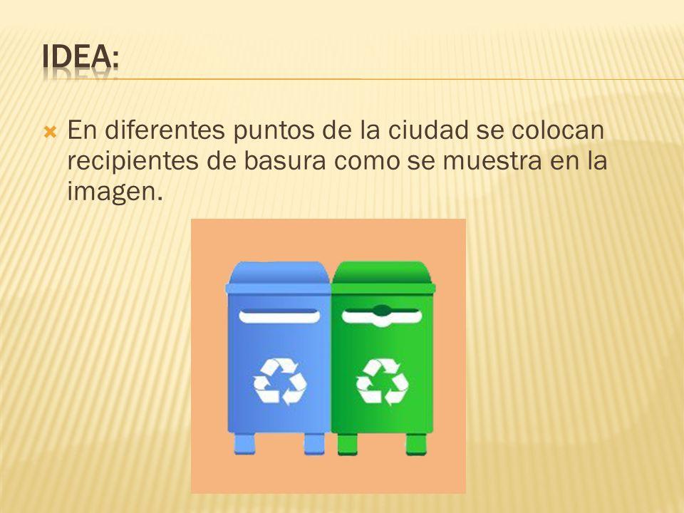 En diferentes puntos de la ciudad se colocan recipientes de basura como se muestra en la imagen.
