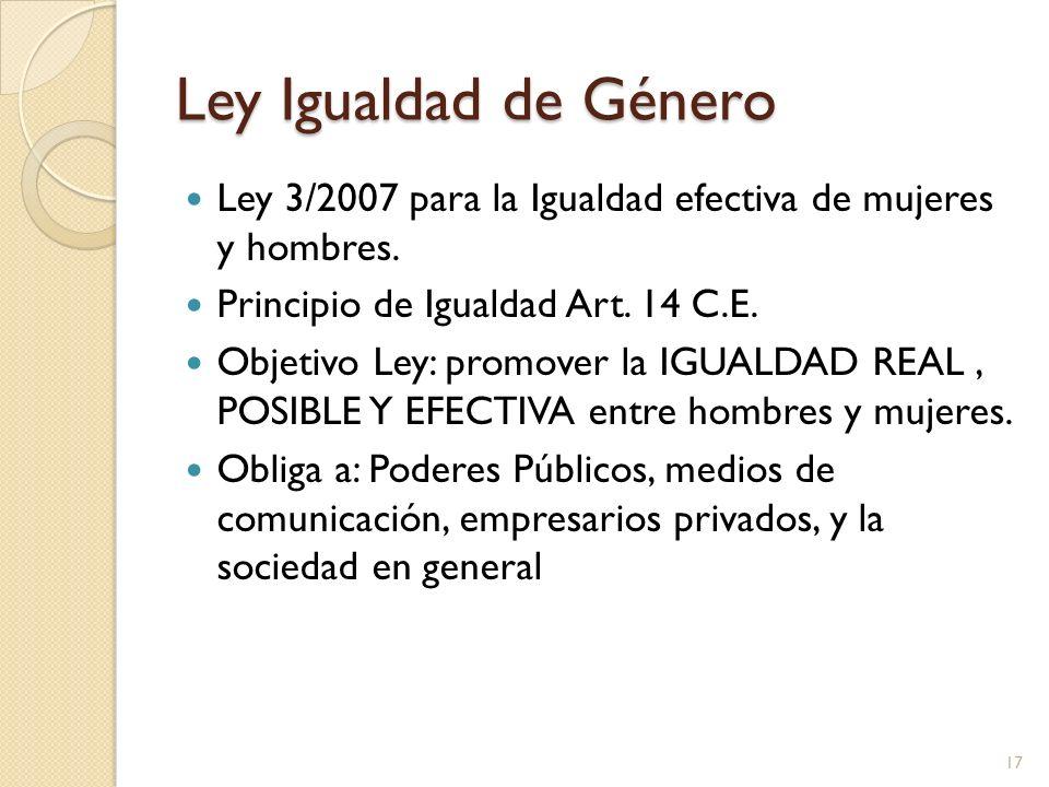 Ley Igualdad de Género Ley 3/2007 para la Igualdad efectiva de mujeres y hombres. Principio de Igualdad Art. 14 C.E. Objetivo Ley: promover la IGUALDA