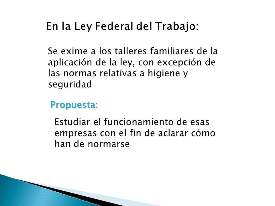 En la Ley Federal del Trabajo: Se exime a los talleres familiares de la aplicación de la ley, con excepción de las normas relativas a higiene y seguri