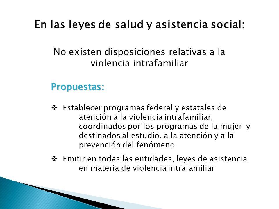 En las leyes de salud y asistencia social: No existen disposiciones relativas a la violencia intrafamiliar Propuestas: Establecer programas federal y