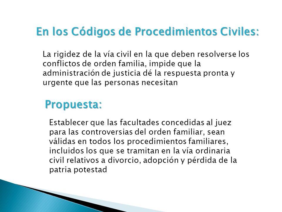 En los Códigos de Procedimientos Civiles: La rigidez de la vía civil en la que deben resolverse los conflictos de orden familia, impide que la adminis