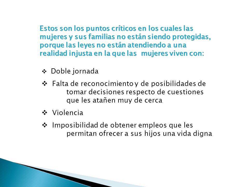 Estos son los puntos críticos en los cuales las mujeres y sus familias no están siendo protegidas, porque las leyes no están atendiendo a una realidad
