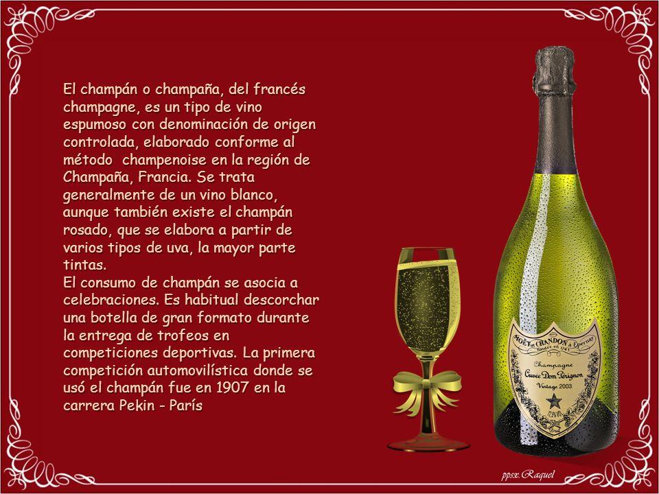 El champán o champaña, del francés champagne, es un tipo de vino espumoso con denominación de origen controlada, elaborado conforme al método champenoise en la región de Champaña, Francia.