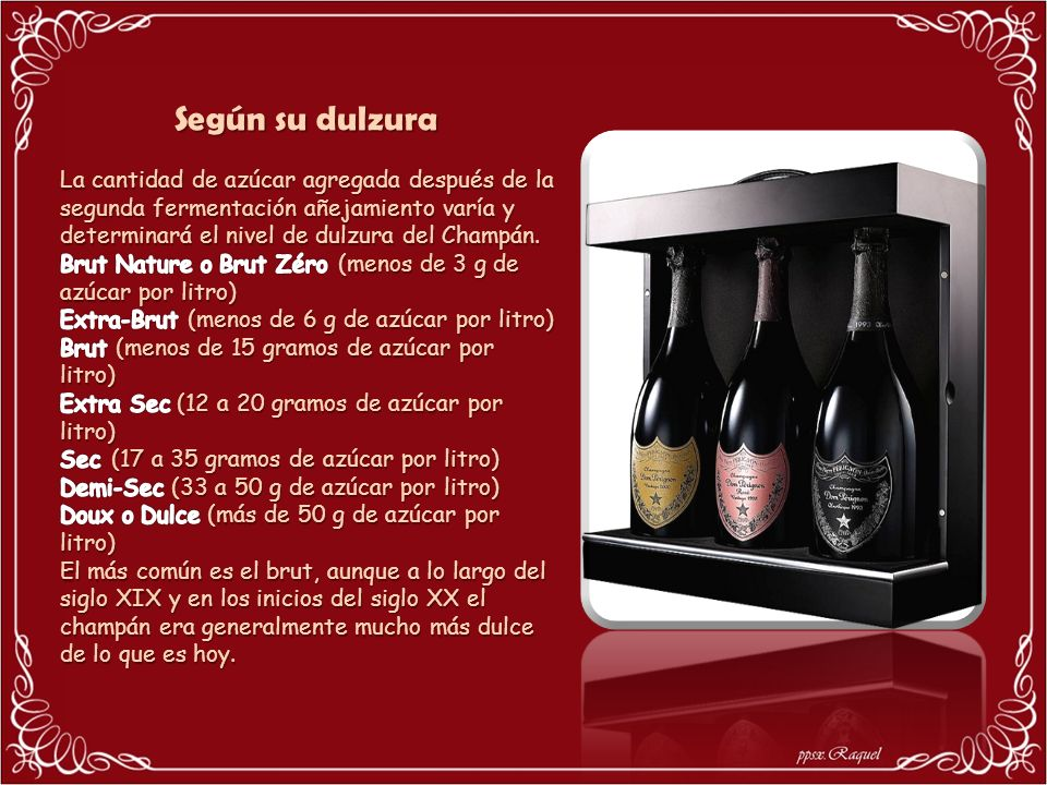 El champagne es un vino espumoso que se mantiene a presión en la botella mediante un tapón de forma de seta, por contraposición a los tapones cilíndri