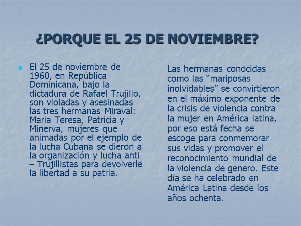 El 25 de noviembre de 1960, en República Dominicana, bajo la dictadura de Rafael Trujillo, son violadas y asesinadas las tres hermanas Miraval: Maria