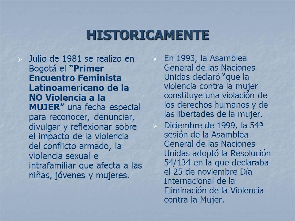HISTORICAMENTE Julio de 1981 se realizo en Bogotá el Primer Encuentro Feminista Latinoamericano de la NO Violencia a la MUJER una fecha especial para