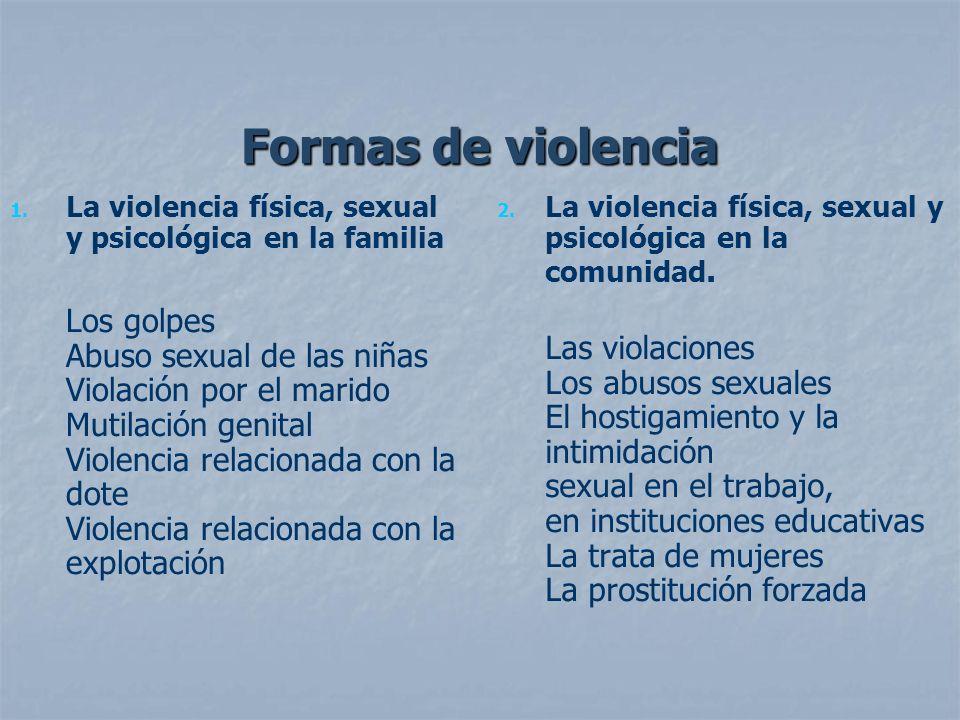 Formas de violencia 1. 1. La violencia física, sexual y psicológica en la familia Los golpes Abuso sexual de las niñas Violación por el marido Mutilac