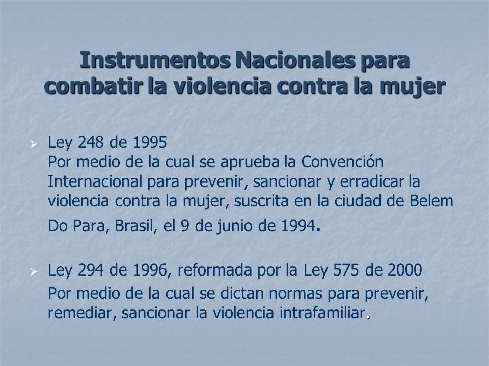 Instrumentos Nacionales para combatir la violencia contra la mujer Ley 248 de 1995 Por medio de la cual se aprueba la Convención Internacional para pr