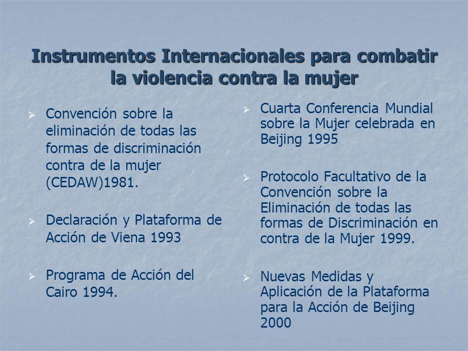 Instrumentos Internacionales para combatir la violencia contra la mujer Convención Interamericana para Prevenir, Sancionar y Erradicar la Violencia Contra la Mujer (Belem do Para, Brasil, 1994).