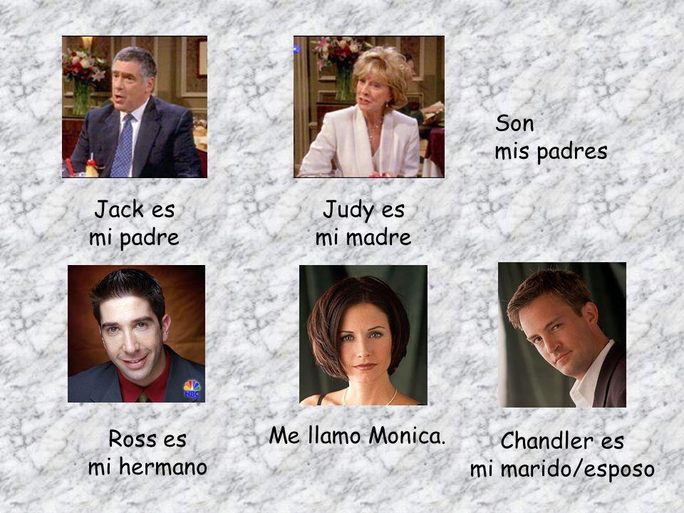 Me llamo Monica. Ross es mi hermano Jack es mi padre Judy es mi madre Son mis padres Chandler es mi marido/esposo