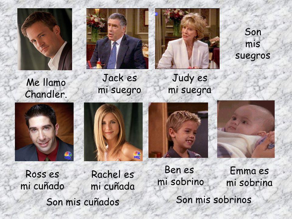 Me llamo Chandler. Jack es mi suegro Judy es mi suegra Son mis suegros Ross es mi cuñado Rachel es mi cuñada Son mis cuñados Ben es mi sobrino Emma es