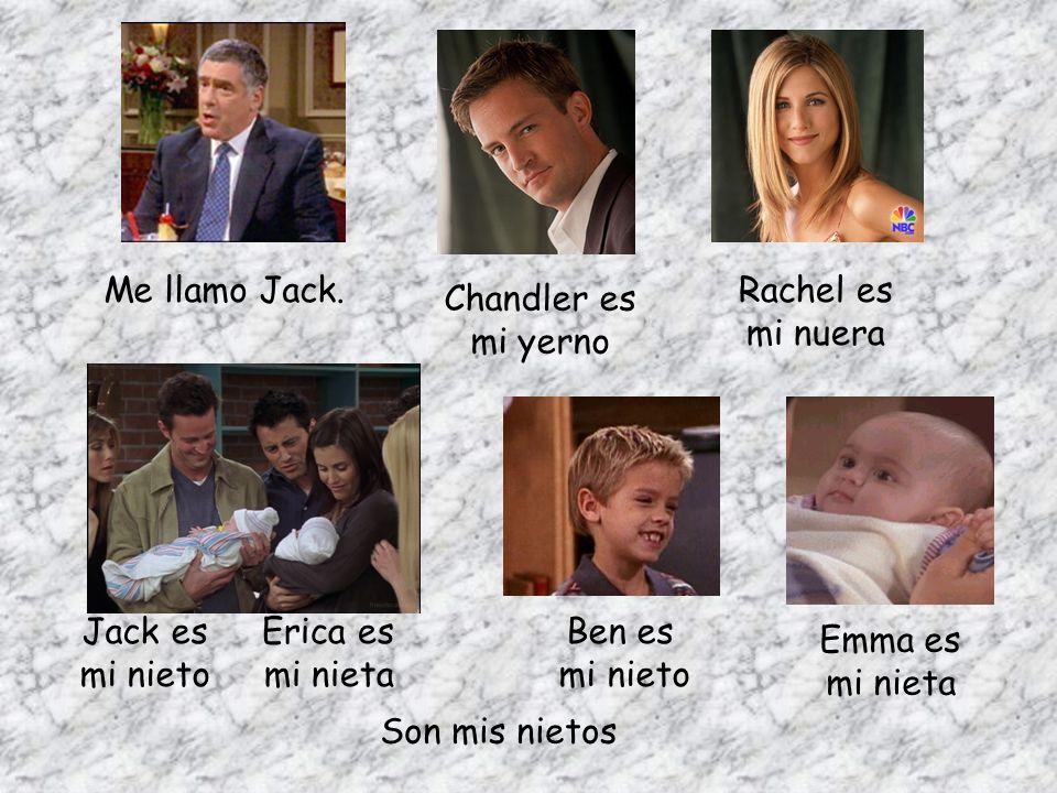 Me llamo Jack. Chandler es mi yerno Rachel es mi nuera Ben es mi nieto Emma es mi nieta Jack es mi nieto Erica es mi nieta Son mis nietos