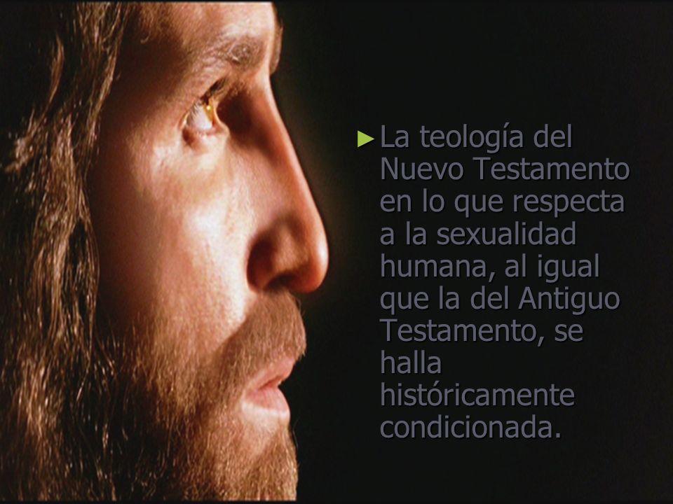 La teología del Nuevo Testamento en lo que respecta a la sexualidad humana, al igual que la del Antiguo Testamento, se halla históricamente condiciona