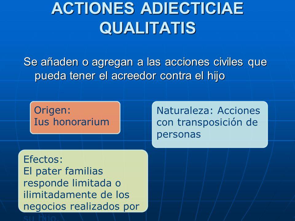ACTIONES ADIECTICIAE QUALITATIS Se añaden o agregan a las acciones civiles que pueda tener el acreedor contra el hijo Origen: Ius honorarium Naturalez