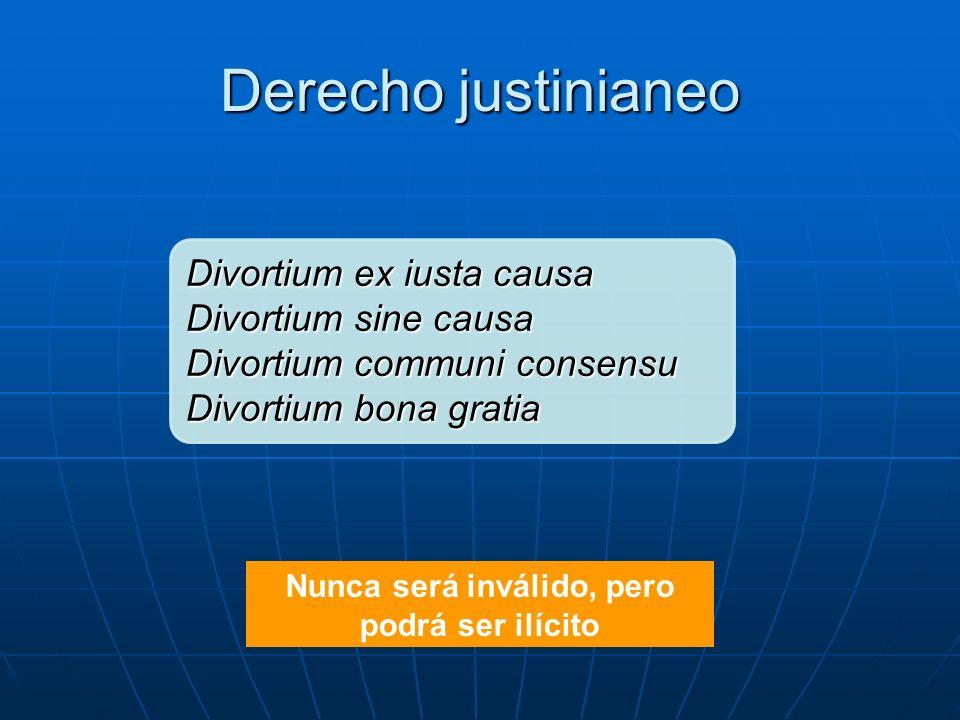 Derecho justinianeo Nunca será inválido, pero podrá ser ilícito Divortium ex iusta causa Divortium sine causa Divortium communi consensu Divortium bon