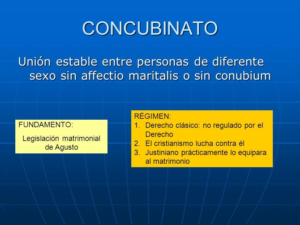 CONCUBINATO Unión estable entre personas de diferente sexo sin affectio maritalis o sin conubium FUNDAMENTO: Legislación matrimonial de Agusto RÉGIMEN