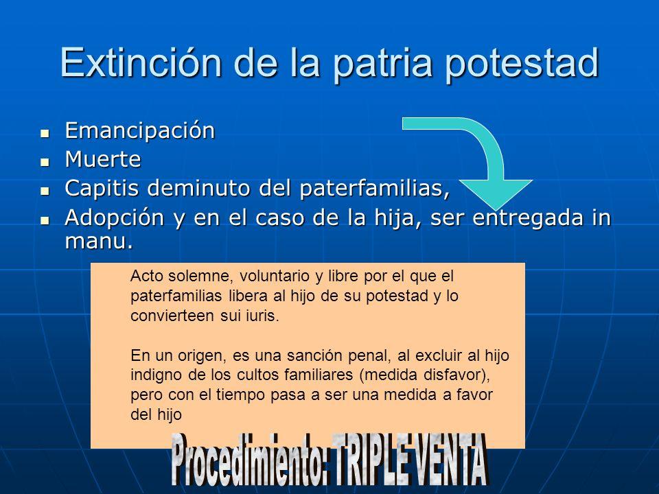 Extinción de la patria potestad Emancipación Emancipación Muerte Muerte Capitis deminuto del paterfamilias, Capitis deminuto del paterfamilias, Adopción y en el caso de la hija, ser entregada in manu.
