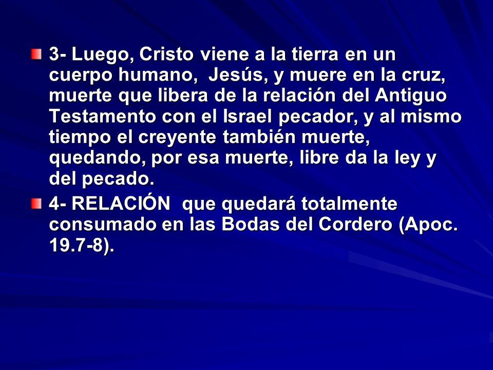 3- Luego, Cristo viene a la tierra en un cuerpo humano, Jesús, y muere en la cruz, muerte que libera de la relación del Antiguo Testamento con el Isra